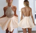 Show details for Cute Sleeveless Halter Backless A-Line Short Party Dress With Sequins