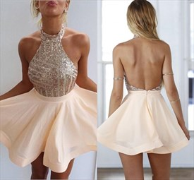 Cute Sleeveless Halter Backless A-Line Short Party Dress With Sequins