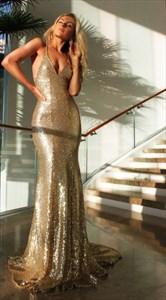 Sleeveless Spaghetti Strap Sequin Sheath Evening Dress With Open Back