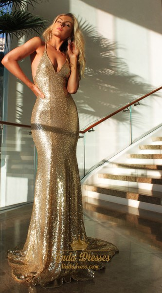 Sleeveless Spaghetti Strap Sequin Sheath Evening Dress With Open Back