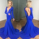 Show details for Deep V Neck Royal Blue Long Sleeve Mermaid Prom Dress With Open Back