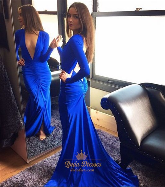 Deep V Neck Royal Blue Long Sleeve Mermaid Prom Dress With Open Back