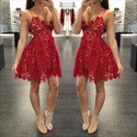 Show details for A-Line Simple Short Burgundy Spaghetti Strap Lace Homecoming Dress