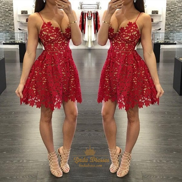 A-Line Simple Short Burgundy Spaghetti Strap Lace Homecoming Dress