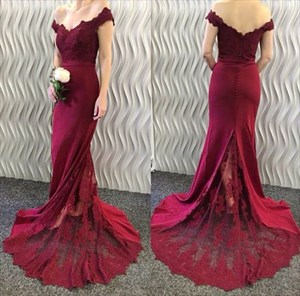 Floor-Length Burgundy Off Shoulder Lace Embellished Mermaid Prom Dress