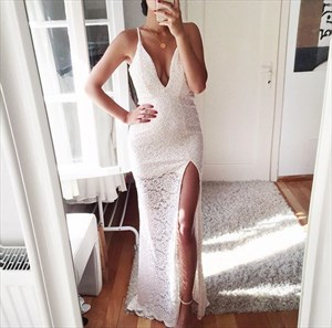 Simple White Sleeveless Deep V Neck Lace Evening Dress With Side Slit