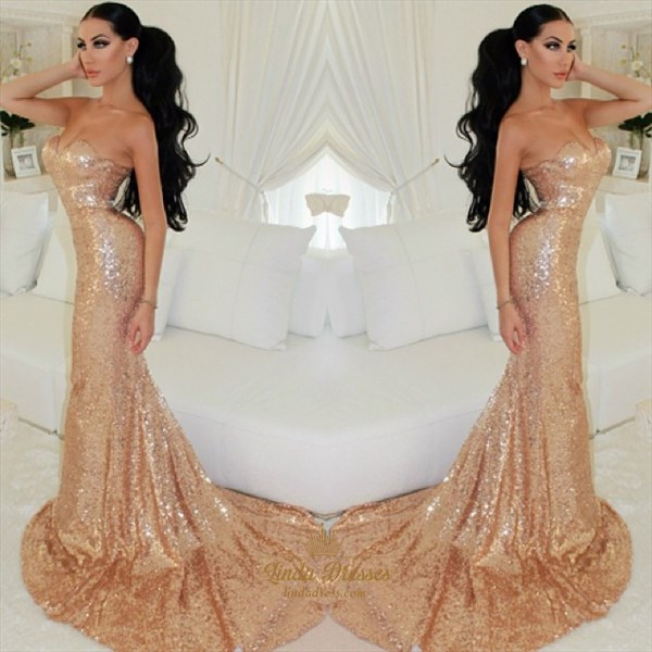 Simple Elegant Mermaid Strapless Sequin Floor-Length Evening Dress