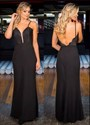 Show details for Black Spaghetti Strap Floor-Length Open Back Evening Dress With Lace