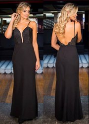 Black Spaghetti Strap Floor-Length Open Back Evening Dress With Lace