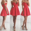 Watermelon Red Off The Shoulder Satin A-Line Short Homecoming Dress
