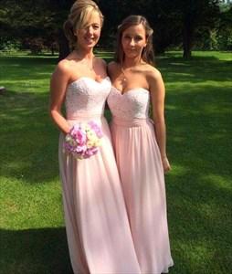 Strapless Sweetheart Lace Bodice A-Line Chiffon Long Bridesmaid Dress
