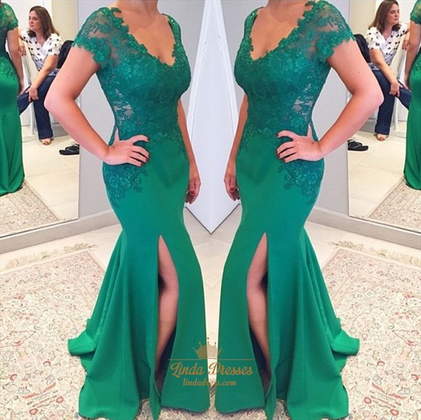 Floor-Length Lace Embellished Chiffon V-Neck Cap Sleeve Mermaid Gown