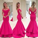 Show details for Floor-Length Hot Pink Off The Shoulder Ruffled Mermaid Evening Gown