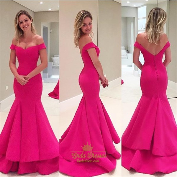 Floor-Length Hot Pink Off The Shoulder Ruffled Mermaid Evening Gown