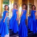 Royal Blue Off-The-Shoulder Lace Bodice Elegant Chiffon Prom Dress