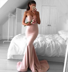 Peach Strapless Sweetheart Long Mermaid Prom Dress With Lace Bodice