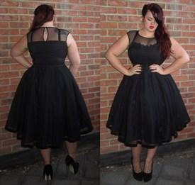A-Line Black Cap Sleeve Tea Length Cocktail Dress With Sheer Neckline