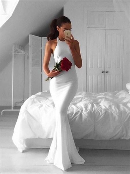 White Halter Sleeveless Floor-Length Mermaid Prom Dress With Open Back