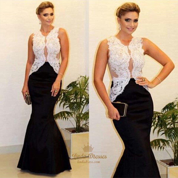 White And Black Sleeveless Lace Bodice Mermaid Floor-Length Prom Dress