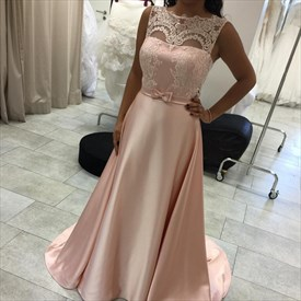 Sleeveless Illusion Lace Bodice A-Line Floor-Length Satin Evening Gown