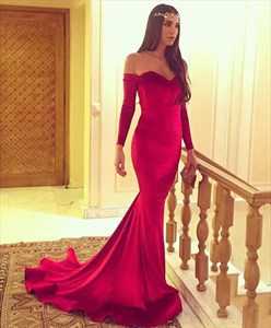 Off-The-Shoulder Sweetheart Neck Mermaid Prom Dress With Long Sleeves