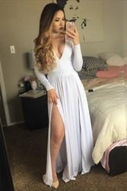 Simple Deep V-Neck Long Sleeve A-Line Chiffon Maxi Dress With Split