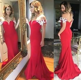 Elegant Off The Shoulder Applique Embellished Mermaid Evening Dress