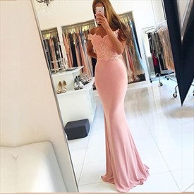 Pale Pink Off Shoulder Lace Bodice Chiffon Bottom Mermaid Prom Dress