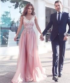 Pink Sleeveless V-Neck Applique Bodice A-Line Floor-Length Prom Dress