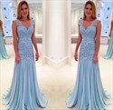 Light Blue Floor-Length Drop Waist Ruched Lace Chiffon Formal Dress
