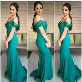 Emerald Green Off Shoulder Mermaid Ruched Sequin Bodice Prom Dress
