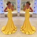 Show details for Yellow Elegant Sleeveless V-Neck Floor Length Mermaid Evening Dress
