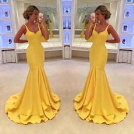 Yellow Elegant Sleeveless V-Neck Floor Length Mermaid Evening Dress