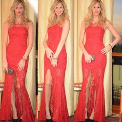 Sleeveless Lace Sheath Floor-Length Evening Dress With Front Slit