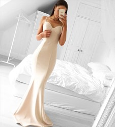 Light Champagne Spaghetti Strap Sweetheart Mermaid Long Formal Dress