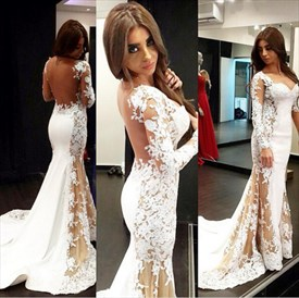 Illusion Long Sleeve Lace Applique Mermaid Prom Dress With Sheer Back