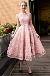 Vintage A-Line Pink Cap Sleeve Tea Length Beaded Lace Homecoming Dress