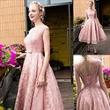 Show details for Vintage A-Line Pink Cap Sleeve Tea Length Beaded Lace Homecoming Dress