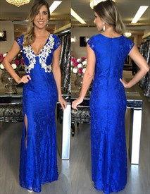 Royal Blue V-Neck Cap Sleeve Applique Lace Prom Dress With Side Slit