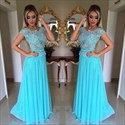 Illusion Lace Bodice A-Line Cap Sleeve Chiffon Floor-Length Prom Dress