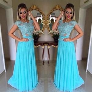 Illusion Lace Bodice A-Line Cap Sleeve Chiffon Floor-Length Prom Dress
