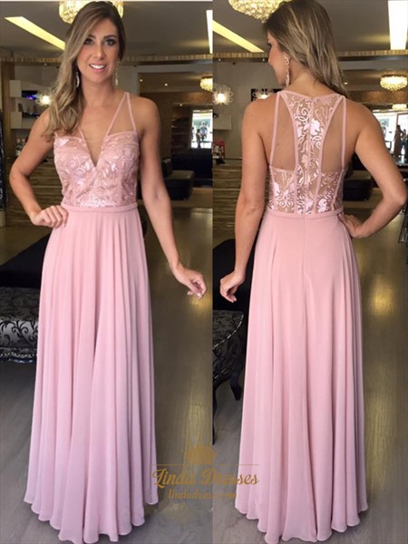 A-Line Sleeveless V-Neck Chiffon Long Prom Dress With Illusion Bodice