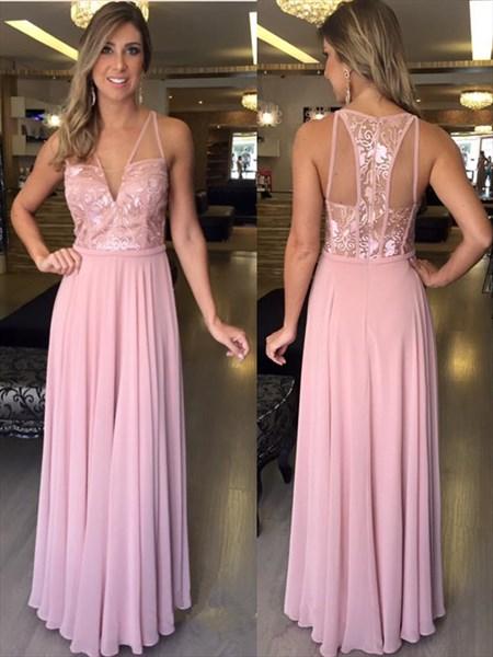 A-Line Sleeveless V-Neck Chiffon Long Prom Dress With Illusion Bodice