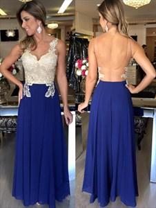 A-Line Sleeveless Lace Embellished Chiffon Prom Dress With Open Back