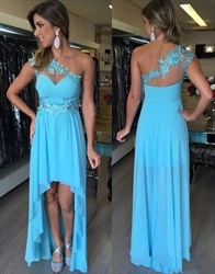 Aqua Blue One Shoulder Floral Applique A-Line High Low Evening Gown