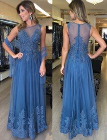 Elegant Illusion Sleeveless Beaded Lace & Tulle A-Line Long Prom Dress