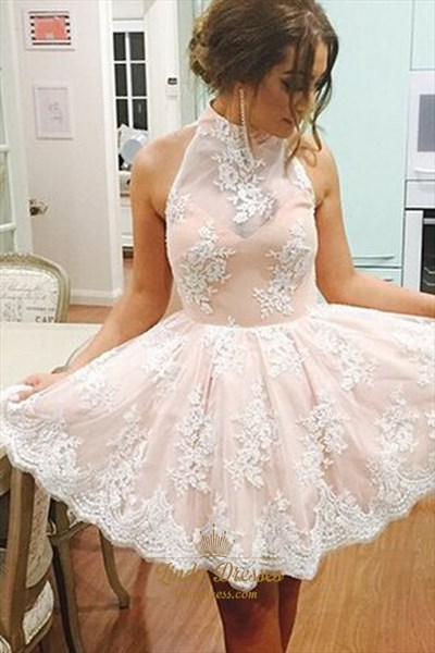 Cute Short Sleeveless A-Line Lace Homecoming Dress With Keyhole Back