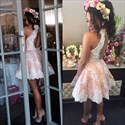 Show details for Cute Short Sleeveless A-Line Lace Homecoming Dress With Keyhole Back