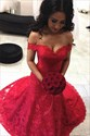 Red Off The Shoulder Floor Length Mermaid Lace Overlay Wedding Dress