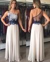 Show details for Illusion One Shoulder A-Line Sheer Back Applique Chiffon Prom Dress